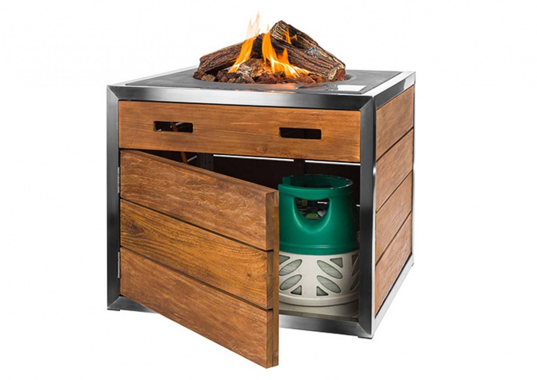 Palenisko gazowe z drewna teakowego 76x76x46cm
