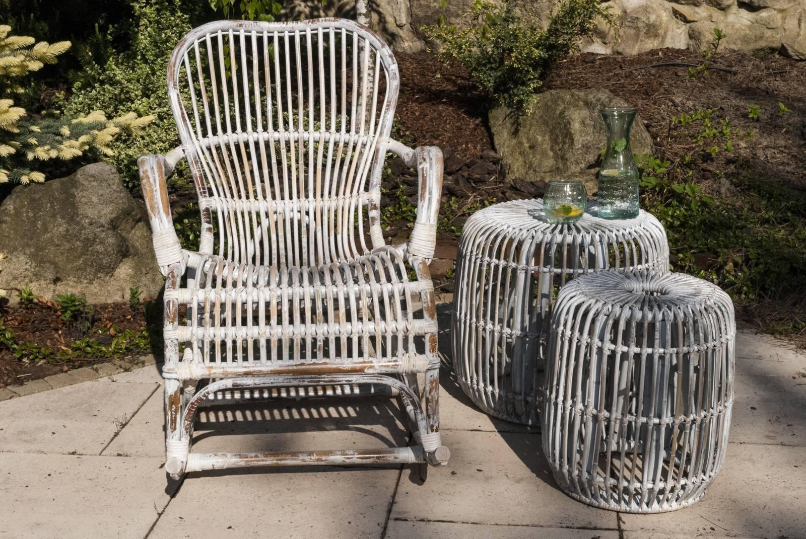 Zahradní stolek  / puf CANNES ratan