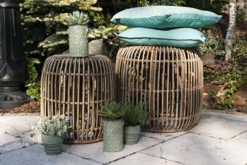 Zahradní stolek  / puf CANNES přírodní ratan 35 cm