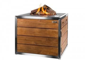 Nerezové čtvercové plynové ohniště TEAKWOOD Lounge&Dining