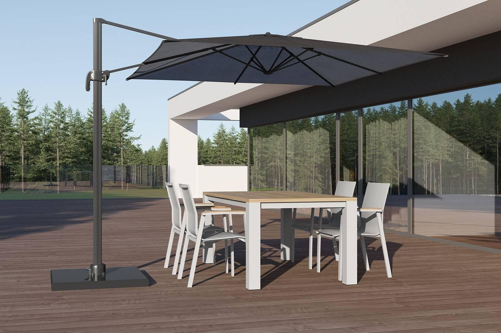 Zahradní stůl MADRIT teak/hliník bílý