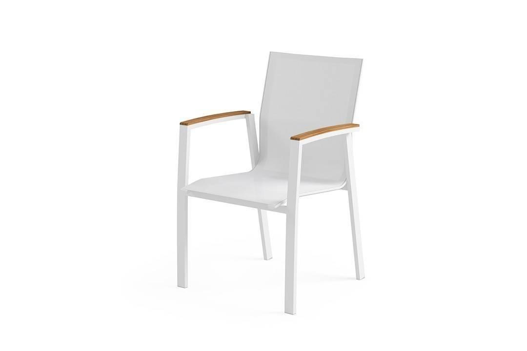 Zahradní hliníková židle LEON teak bílá