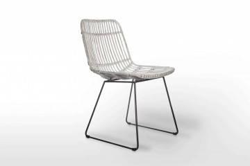 Zahradní ratanová retro židle  DINAN praná bílá