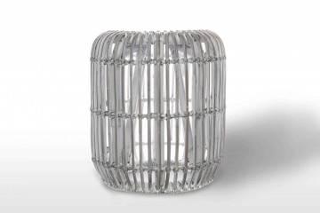 Zahradní stolek  / puf CANNES přírodní ratan 35 cm praná bílá