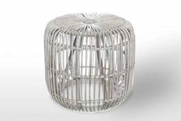 Zahradní stolek  / puf CANNES přírodní ratan 52 cm praná bílá