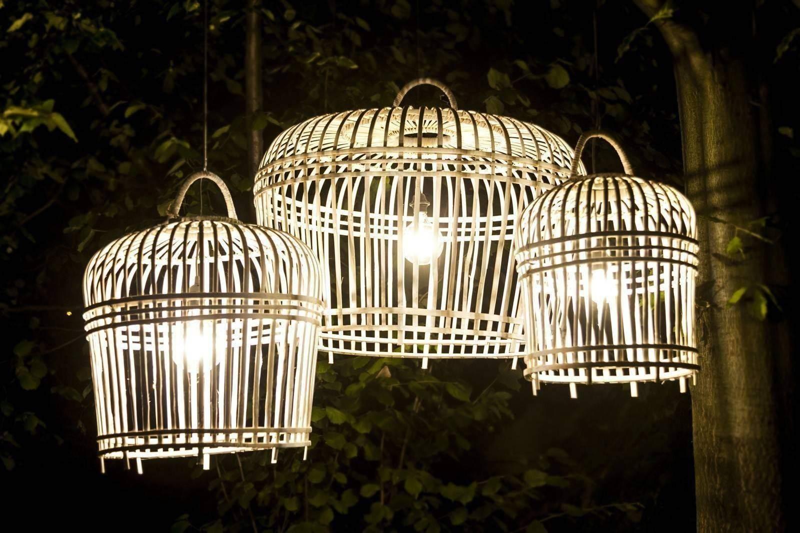 Bambusová lampa TOULOUSE ⌀54CM X VYŠ. 54CM praná bílá