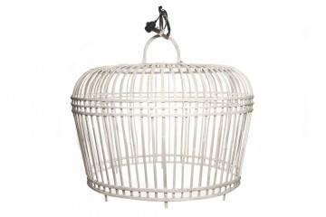 Bambusová lampa TOULOUSE ⌀96CM X VYŠ. 72CM praná bílá