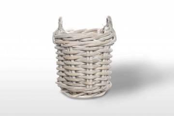 Ratanový koš RENNES ⌀35 cm x výš. 35 cm praná bílá